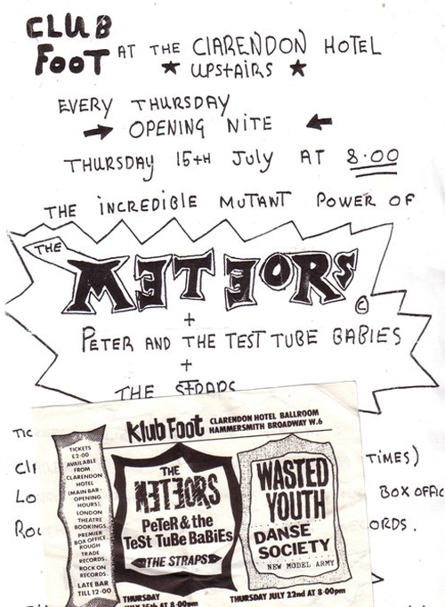 handdrawn gig flyer from 1980s for The Meteors at the Klub Foot